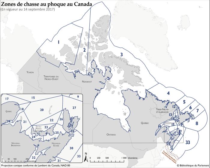 Carte du Canada qui illustre les frontières de chacune des 33 zones de pêche du phoque qui apparaissent dans l'annexe III, parties I à VI du Règlement sur les mammifères marins.