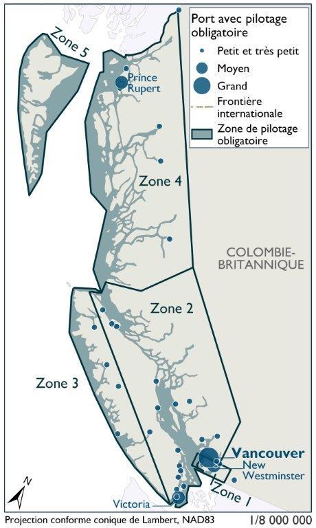 Cette carte illustre les cinq zones le long des côtes du Pacifique en Colombie-Britannique où le pilotage est obligatoire. La taille des installations portuaires est conforme à celle définie dans le World Port Index. Conformément aux prévisions, le pilotage est obligatoire dans les ports de taille moyenne de Victoria, de Prince Rupert et de New Westminster, ainsi que dans le vaste port de Vancouver. Plusieurs petits et très petits ports autour de l'île de Vancouver et vers le nord sur la côte Ouest de la C.-B. requièrent également le pilotage.