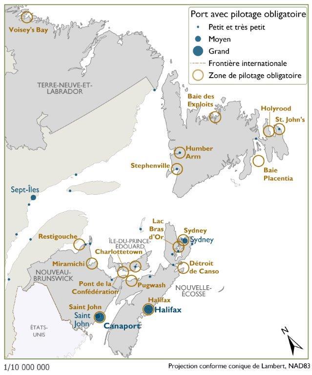 Cette carte montre les nombreux petits et très petits ports qui nécessitent le pilotage obligatoire dans l'Est du Canada. Les installations principales sont le port de Saint John, le terminal portuaire Canaport LNG et le port d'Halifax, et celui de Sydney est de moyenne taille. Les petits et les très petits ports ne figurent pas tous dans le World Port Index.