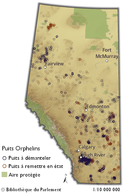 Cette carte de l'Alberta indique les endroits où l'Orphan Well Association (OWA) gère, en date du 29 janvier 2019, des puits destinés à être démantelés ou à la remise en état. L'OWA a recensé plus de trois mille (3 000) puits orphelins destinés à être démantelés et près de mille cinq cents (1 500) en cours de remise en état. Ces puits se trouvent un peu partout en Alberta, sauf dans les aires protégées du nord de l'Alberta et dans les parcs nationaux de Jasper et Banff, dans le sud ouest. Quelques groupes se démarquent du lot. Un important groupement de puits destinés à être démantelés se trouve au sud sud est de Calgary, près de High River. Tout de suite à l'est, et juste à côté du premier groupe, se trouve une petite grappe de puits en cours de réhabilitation. Un autre important groupement de puits destinés à être démantelés est situé près de la ville de Fairview, dans le nord-ouest de l'Alberta, tandis qu'un autre encore, un peu plus au nord, est voué à la remise en état.