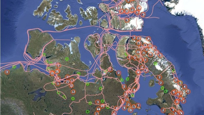 Capture d'écran du Pan Inuit Trails Atlas.