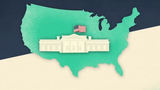 picture of the white house in the middle of a map of the united states