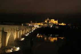 Mezquita and Roman Bridge at night, Cordoba, Andalusia, Spain