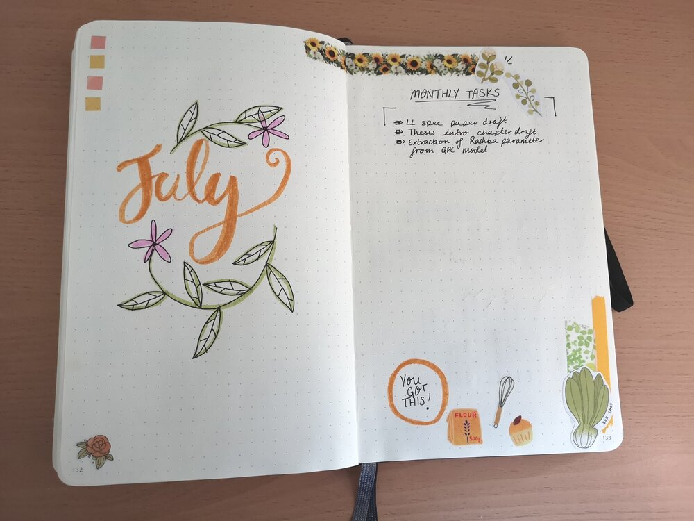 A photo of a bullet journal monthly title and tasks page.