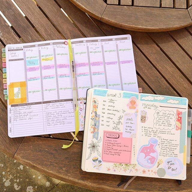 Organized PhD student: a photo of a bullet journal spread and a schedule.