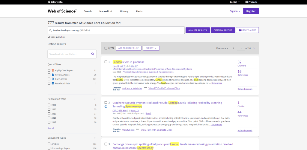 Web of Science literature keyword search