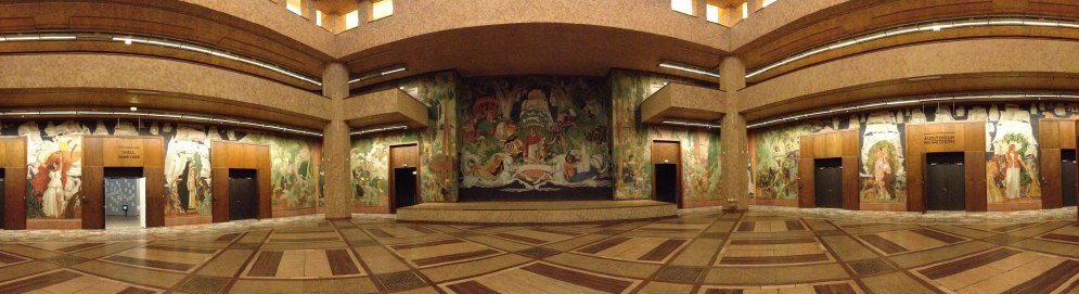 Beautiful frescos inside the Museum of History and Immigration.