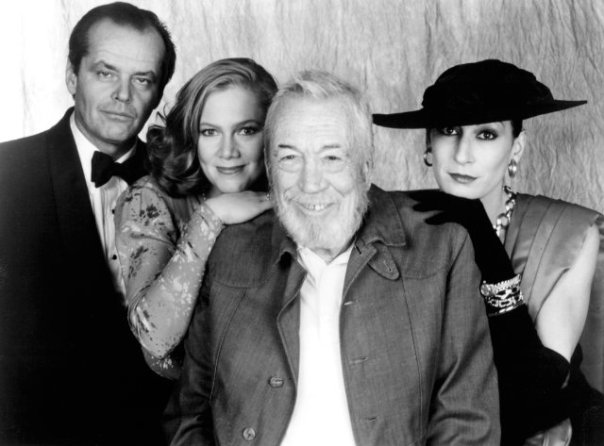 John and Anjelica at the premiere of Prizzi's Honor with Jack Nicholson and Kathleen Turner