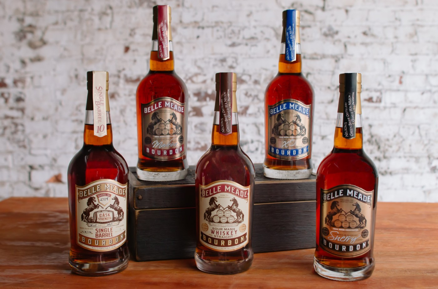 Bourbon bottles from Nelson's Green Brier Distillery
