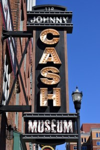 Sign in front of Johnny Cash museum