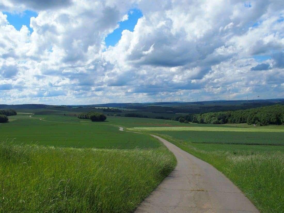 Road through fields to the horizon (2014-05)