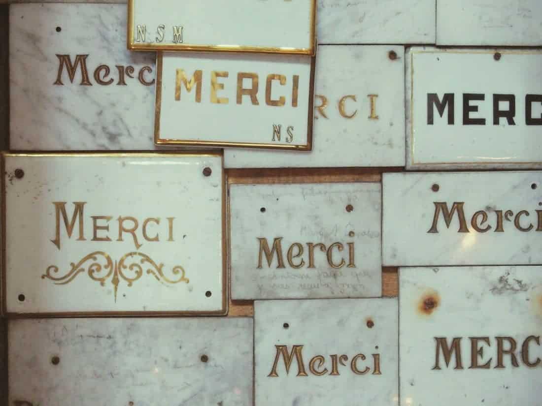 Merci writing on marble in church, France (2014-09)