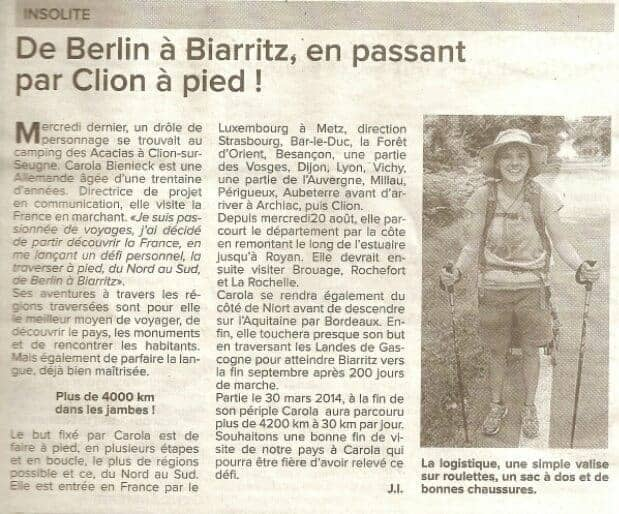 Haute Saintonge newspaper clipping article, FR (2014-08)