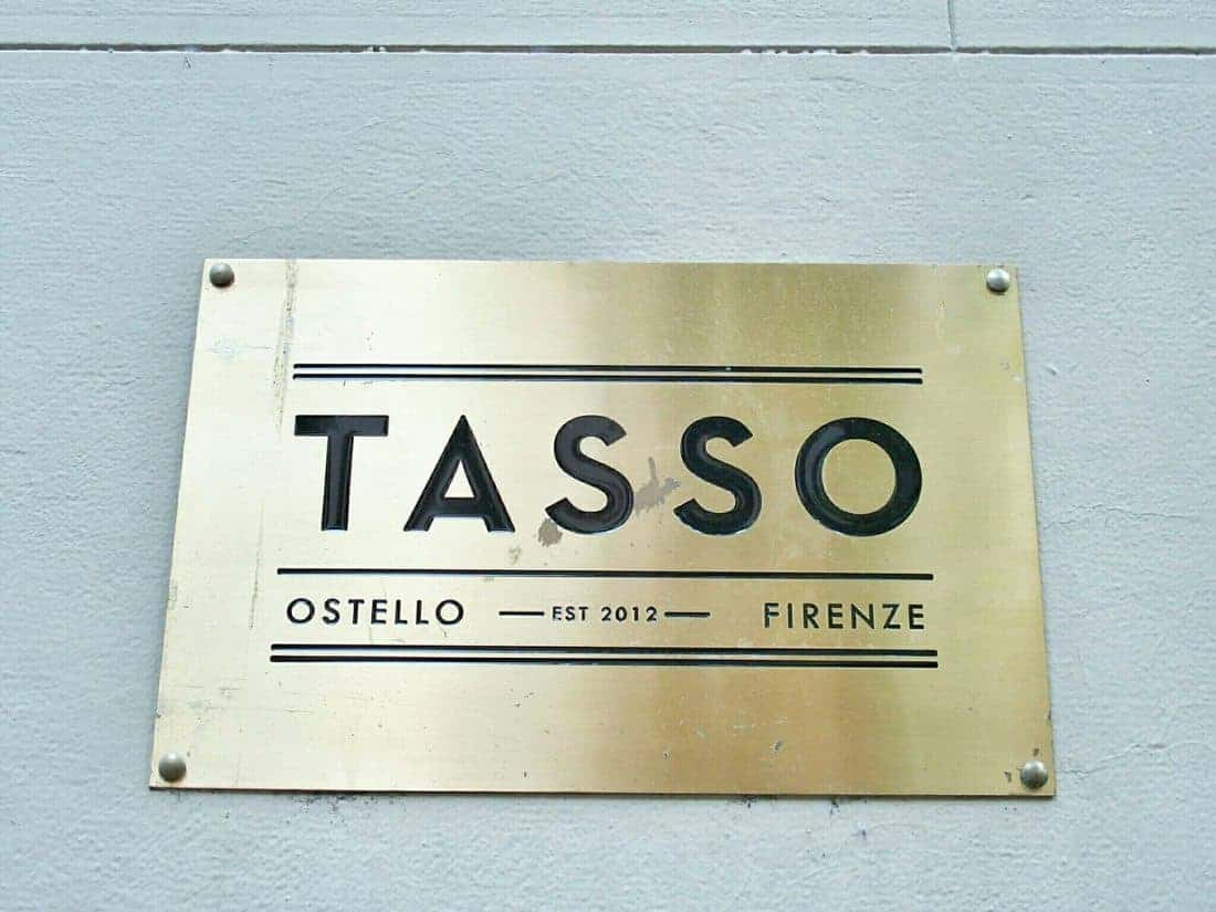 Sign of the Tasso Hostel in Florence, Italy (2015-07)