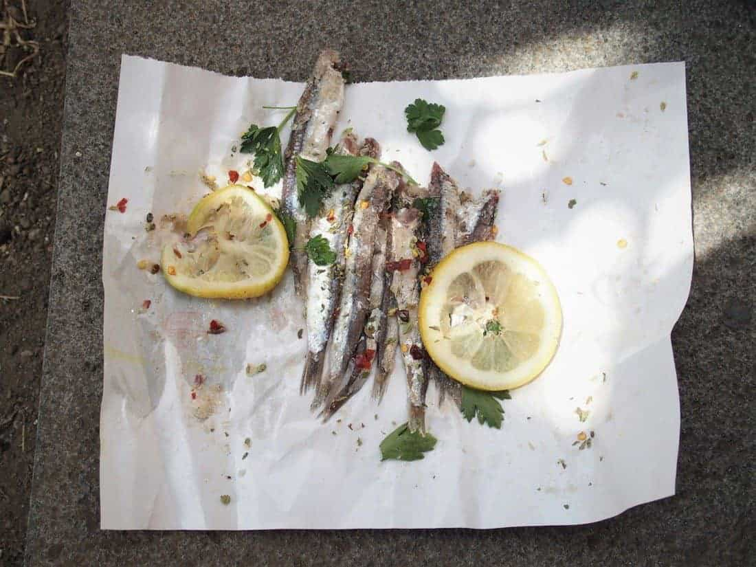 Salted fish street food in Catania, Sicily, Italy(2015-05)