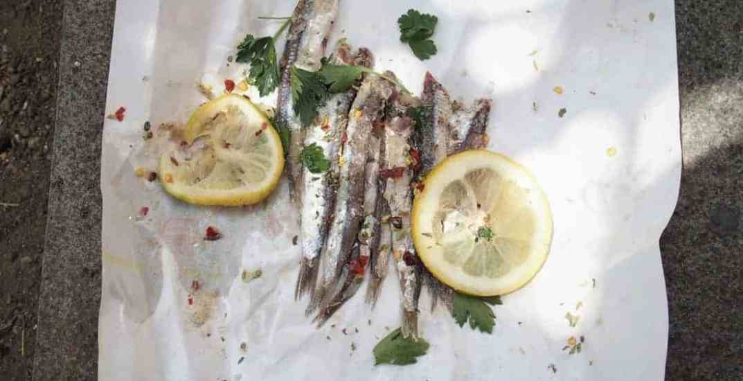 Salted fish street food in Catania, Sicily, IT (2015-05)