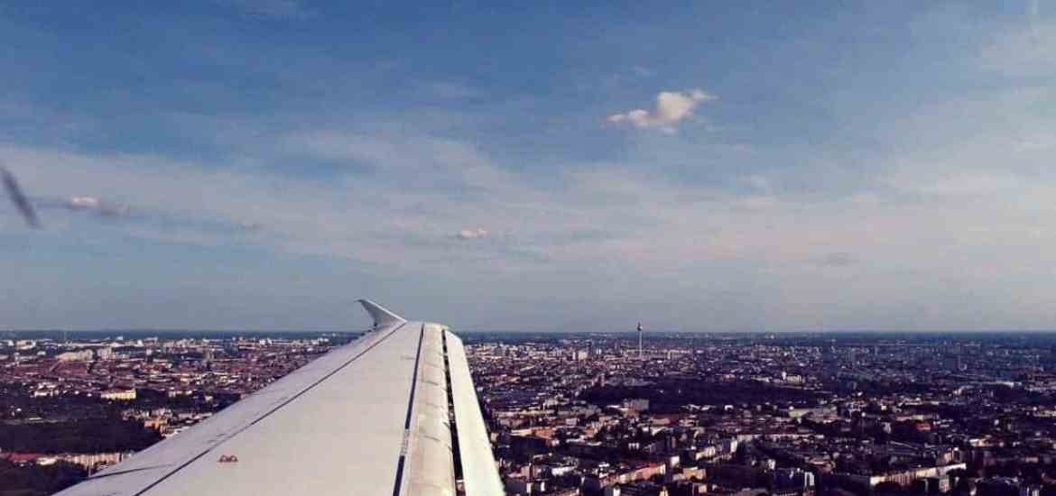 View from airplane on the TV tower in Berlin-Mitte, Germany (2015-08-26)