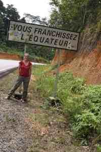Carola crossing the Equator, Gabon (2012-01)