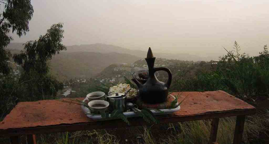 Traditional coffee with a view, Lalibela, Ethiopia (2012-06)