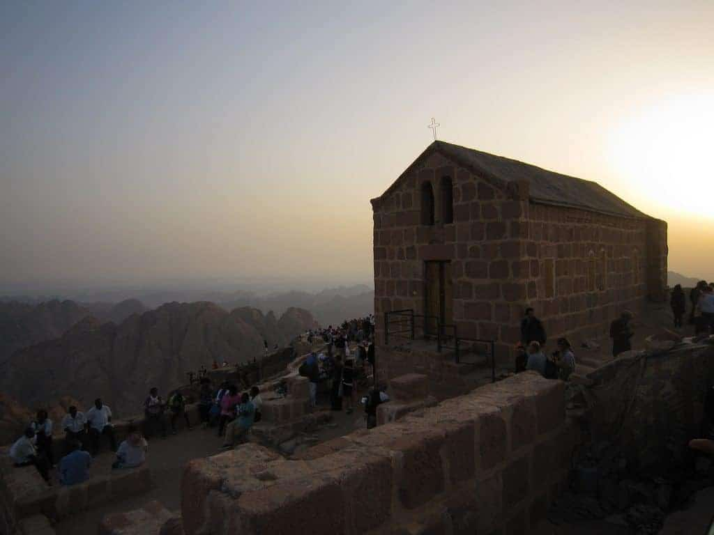 People waiting by a church for sunrise on Mount Sinai, Egypt (2012-07)