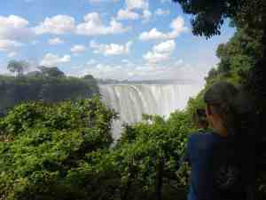 Carola photographing Victoria Falls, Zimbabwe (2012-04)