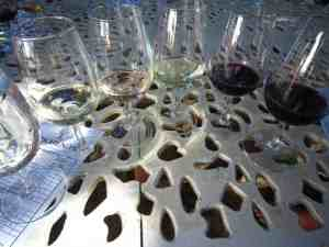 Wine glasses at tasting in Stellenbosch, South Africa (2012-03)