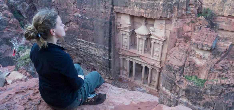 Carola at Treasury view point 1 in Petra, Jordan (2016-12-25)