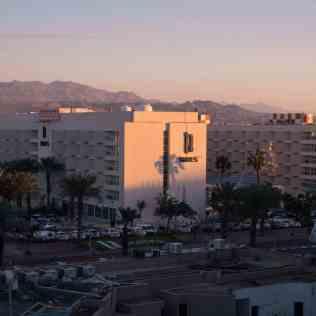 Sunset on resort hotel in Eilat, Israel (2016-12-30)
