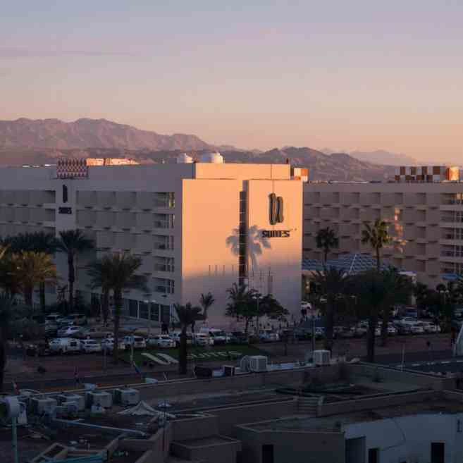 Sunset on resort hotel in Eilat, Israel (2016-12-30)