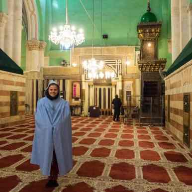 Carola inside the mosque at the Tomb of the Patriarchs, Hebron, Palestine (2017-01-08)