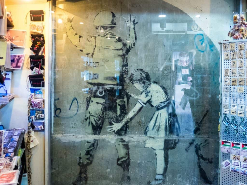 Banksy: Girl Frisking Soldier, Bethlehem, Palestine (2017-01-11)