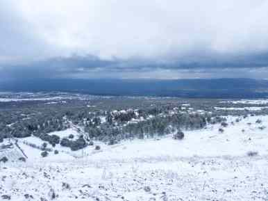Snow day view of Odem, Golan Heights, israel (2017-01-28)