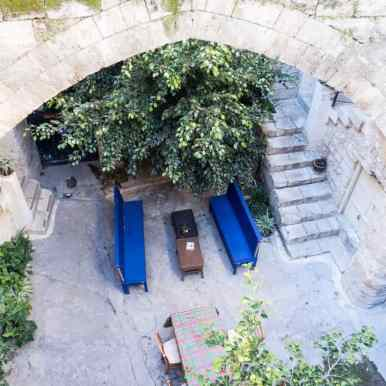 Looking into the courtyard of the Fauzi Azar Inn, Nazareth, Israel (2017-02-03)