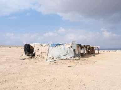 Bedouin camp serving bread and lebaneh towards Sde Boker, Israel (2017-02-09)