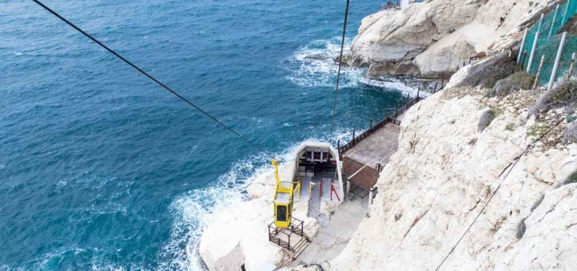 The World's steepest cable car, Rosh Hanikra, Israel (2017-02-15)