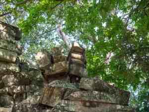 Buddha lips in Banteay Kdei gopura, Angkor Small Circuit, Siem Reap, Cambodia (2017-04-10)