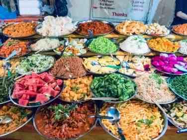 Vegetarian buffet at the night market, Luang Prabang, Laos (2017-08)