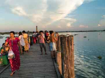 View from U Bein Bridge at sunset, Amarapura, Mandalay, Myanmar (2017-09)