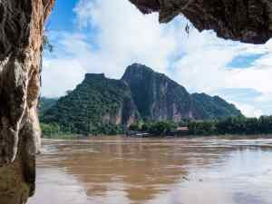 The view from lower Pak Ou (or 4,000 Buddhas) Cave, Luang Say Mekong river cruise, Luang Prabang to Huay Say, Laos (2017-08)