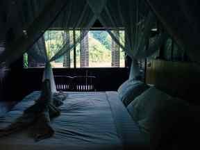 View from my bed at my cottage at Luangsay's Pakbeng Lodge, Luang Say Mekong river cruise, Luang Prabang to Huay Say, Laos (2017-08)