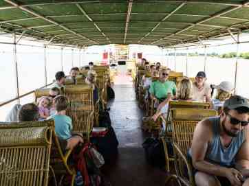 The upper deck on the Irrawaddy River Cruise Mandalay to Bagan, Myanmar (2017-09)