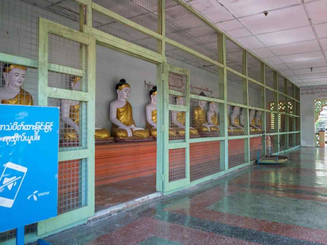 Row of Buddhas at Umin Thounzeh Paya, Sagaing, Mandalay, Myanmar (2017-09)