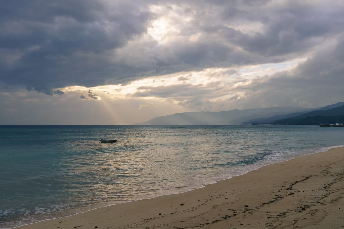 Com beach at dusk, East Timor