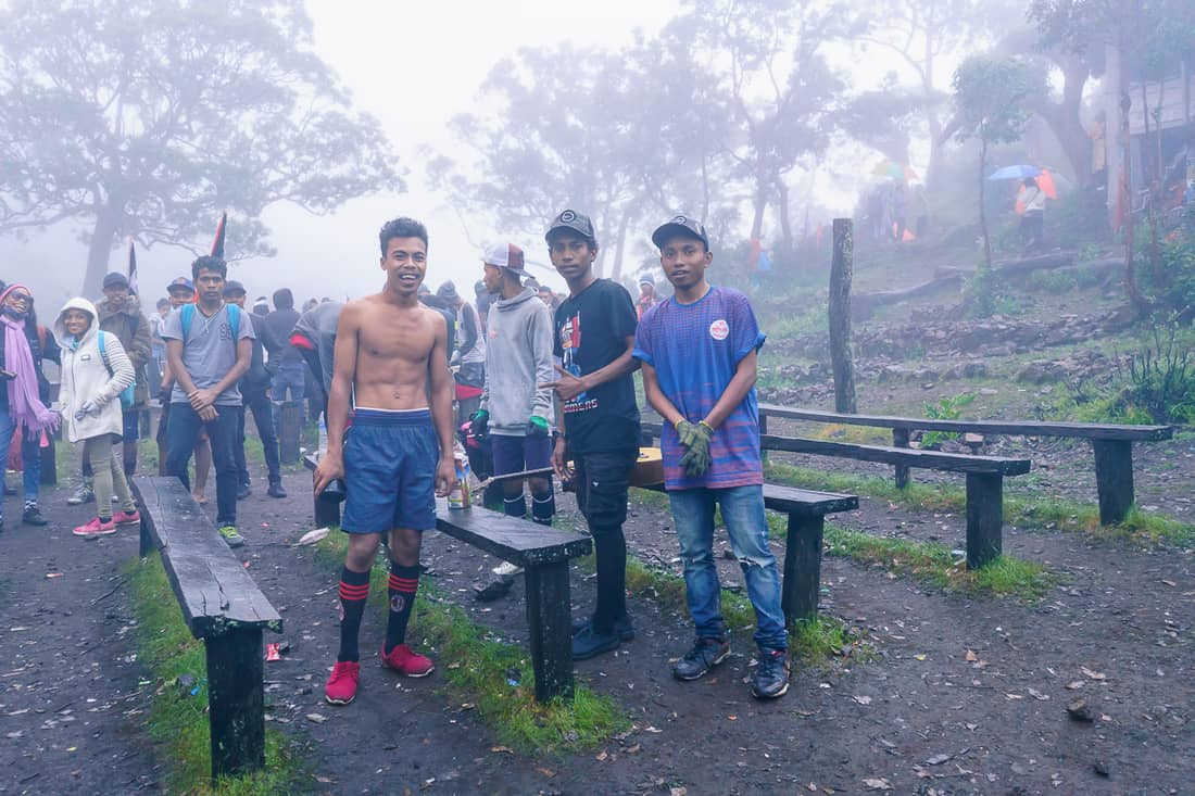 Young men at the Mt. Ramelau outdoor church, East Timor