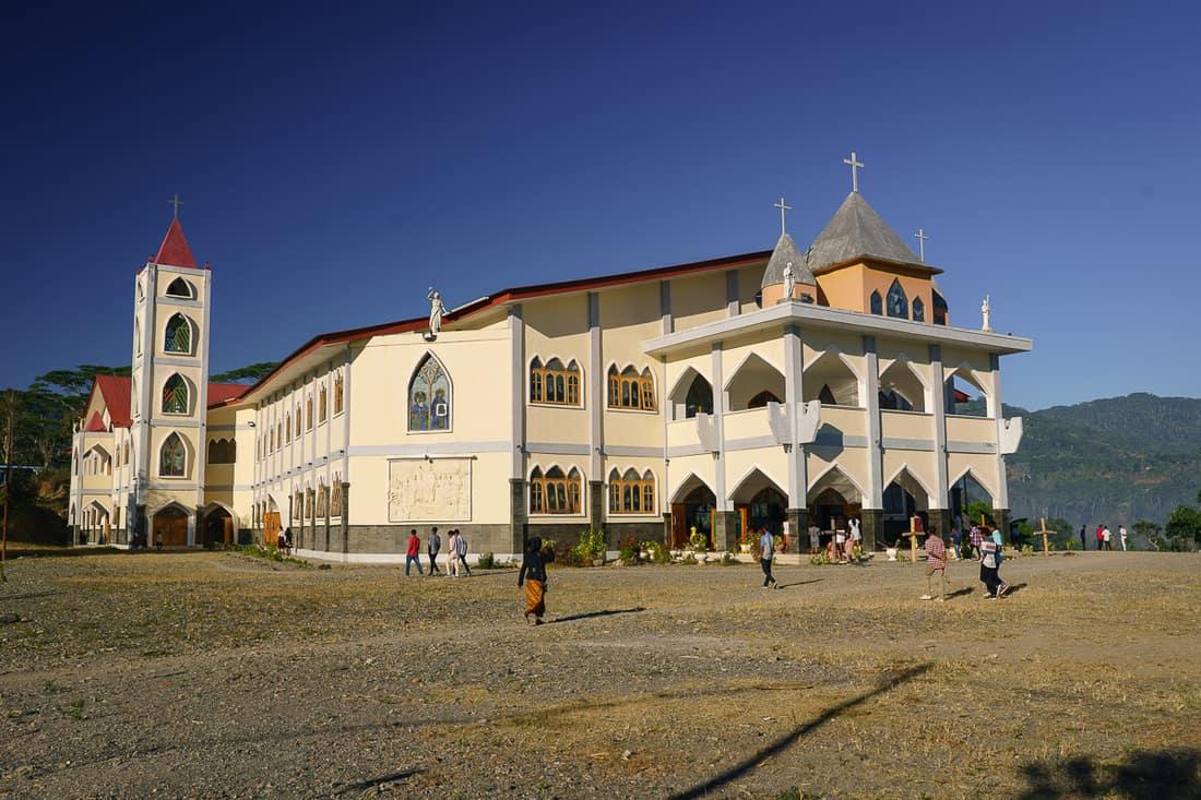 Gleno church on Sunday morning, East Timor