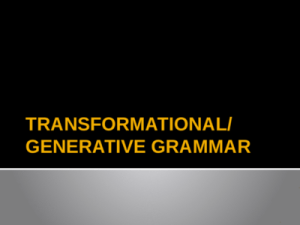 What Linguistics can Teach you About Transformational Generative Grammar