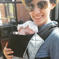 Our first go with our pre-loved Connecta baby carrier.