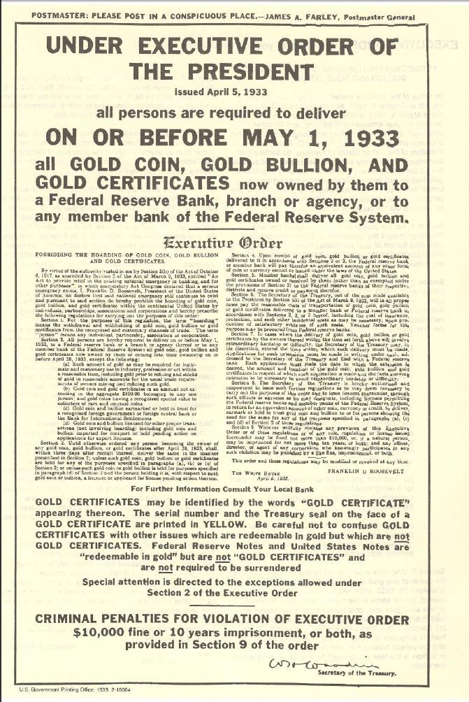 seizure of U.S. gold coins in 1933