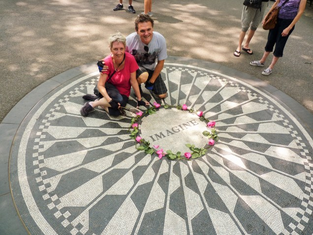"Strawberry Fields, John Lennon memorial, ""Imagine"" - on the run in New York City"