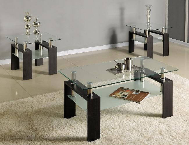 glass coffee 2 end tables set